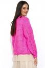 Różowy Luźny Sweter z Ażurowym Wzorem
