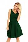 Zielona Sukienka Elegancka Rozkloszowana na Szerokich Ramiączkach