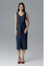 Granatowa Dopasowana Midi Sukienka Wizytowa za Kolano