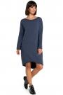 Niebieska Asymetryczna Swetrowa Sukienka z Dekoltem w Łódkę