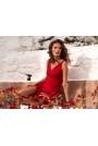 Czerwona Stylowa Sukienka Ołówkowa na Szerokich Ramiączkach
