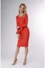 Czerwona Wizytowa Sukienka Ołówkowa z Falbanką