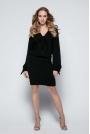 Czarna Sukienka Casual z Wiązaniami przy Dekolcie i Rękawach