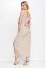 Beżowa Sukienka Długa Kopertowa z Falbankami