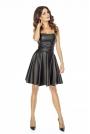 Czarna Imprezowa Gorsetowa Sukienka z Rozkloszowanym Dołem