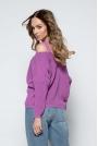 Fioletowy Lekki Nietoperzowy Sweter ze Zmysłowym Dekoltem