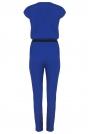 Niebieska Szykowny Kombinezon z Założeniem Kopertowym z Paskiem z Eko -skóry