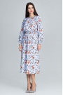 Stylowa Sukienka w Barwny Deseń z Bufiastym Rękawem - Wzór 76