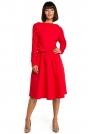 Czerwona Rozkloszowana Dzianinowa Sukienka z Gumką w Tali
