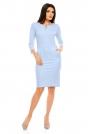 Niebieska Dopasowana Wizytowa Sukienka z Suwakiem przy Dekolcie