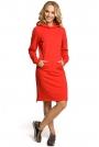 Czerwona Sukienka Sportowa Kangurka z Kapturem