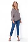 Brązowy Oversizowy Sweter z Ozdobnym Splotem