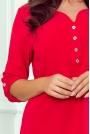 Czerwona Casualowa Bluzka z Ozdobnymi Guzikami