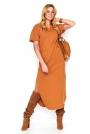 Kamelowa Nowoczesna Dresowa Maxi Sukienka z Krótkim Rękawem