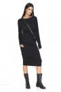 Czarna Ołówkowa Midi Sukienka Marszczona na Bokach