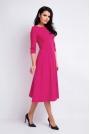 Różowa Sukienka Wizytowa Midi z Szerokim Dołem