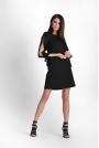 Czarna Trapezowa Sukienka z Rozciętymi Rękawami