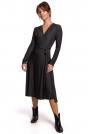 Wzorzysta Sukienka Kopertowa z Długim Rękawem - Model 1