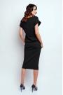 Czarna Nowoczesna Sukienka Midi z Krótkim Rękawkiem