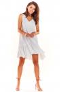 Biała Luźna Sukienka bez Rękawów z Falbanką