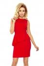 Czerwona Sukienka Ołówkowa bez Rękawów z Asymetryczną Baskinką