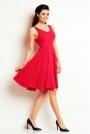 Różowa Skromna Sukienka Letnia z Szerokim Dołem