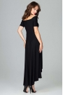 Czarna Długa Asymetryczna Sukienka z Odkrytymi Ramionami