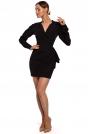 Czarna Krótka Sukienka z Drapowaną Falbanką na Boku