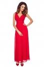 Czerwona Elegancka Wieczorowa Sukienka Maxi z Kopertowym Dekoltem