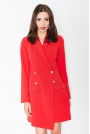 Czerwony Elegancka Sukienka Smokingowa Zapinana na Guziki