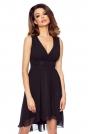 Czarna Wyjściowa Sukienka z Kopertowym Dekoltem z Wydłużonym Tyłem