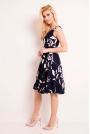 Granatowa Sukienka Princeska z Kwiatowym Wzorem