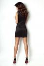 Czarna Sukienka Mini ze Skórzanym Panelem z Przodu
