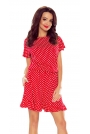 Czerwona Dziewczęca Sukienka w Groszki z Falbanką