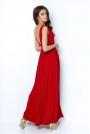 Czerwona Elegancka Maxi Sukienka z Dekoltem V z Przodu i na Plecach