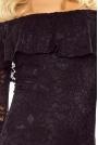 Czarna Sukienka Koronkowa Midi z Hiszpańskim Dekoltem