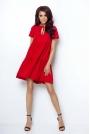Casualowa Zwiewna Sukienka Wiązana przy Dekolcie - Czerwona