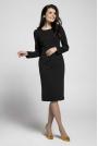 Czarna Klasyczna Dopasowana Sukienka za Kolano