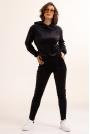 Czarne Welurowe Dresy Komplet Bluza + Spodnie