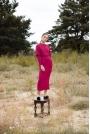 Długa Sukienka z Pęknięciem na Plecach - Śliwkowa