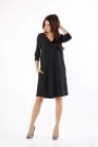 Czarna Trapezowa Sukienka w Serek z Kieszeniami