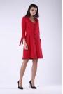 Czerwona Żakietowa Sukienka z Wiązaniem przy Rękawach