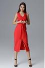 Czerwona Dopasowana Midi Sukienka Wizytowa za Kolano