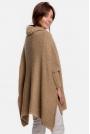 Asymetryczny Sweter-Ponczo z Golfem - Kamelowy