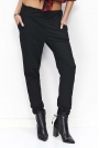 Czarne Spodnie Dresowe Luźne z Kieszeniami