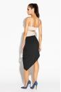 Czarna Spódnica Asymetryczna z Marszczeniami