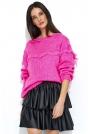 Różowy Oversizowy Sweter z Ażurowym Rękawem