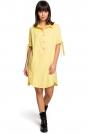 Żółta Koszulowa Sukienka Tunika z Wiązaniem na Rękawach