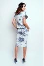 Szaro Biała Nowoczesna Sukienka Midi z Krótkim Rękawkiem