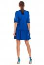 Niebieska Sukienka z Dekoltem V z Falbanką u Dołu